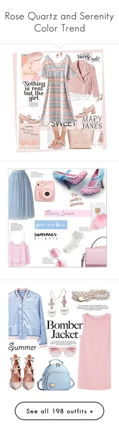 """""""Rose Quartz and Serenity Color Trend"""" by yours-styling-best-friend ❤ liked on Polyvore featuring Lanvin, Vinyl Krazy, Chronicle Books, Rebecca Taylor, WithChic, Serefina, Chloé, Accessorize, maryjanes and Chicwish"""