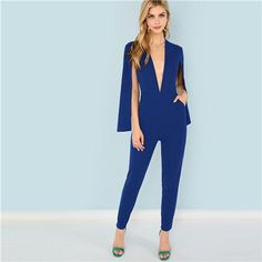 fc3f03b56379 Elegant Solid Plunging Neck Pocket Cloak Sleeve Maxi Women Jumpsuit - Blue