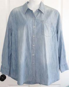 f46a426331c Lane Bryant Chambray Button Down Shirt 28 Denim Womens Plus Cotton Stretch