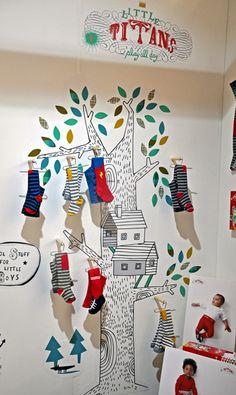 Little Titans Bubble London June 2012, interior, tree, kids socks