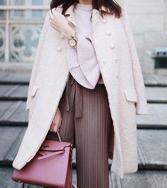 Miu Miu coat, pastels Hana, Pastels, My Outfit, Miu Miu, Duster Coat, Bell Sleeve Top, Walking, Rose, Instagram Posts