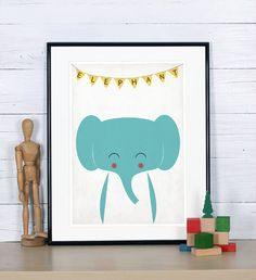 Retro poster, elephant, savannah, jungle animal, elephant, vintage print, A3, nursery wall decoration, retro wall decor, cute baby animal