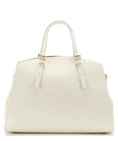 Beige leather structured grab bag Sale - KESHIA Sale