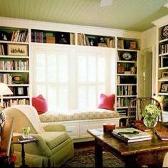 built in bookshelves near windows   built-in shelves around window; window seat   Built In Shelving