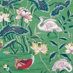 Schumacher LOTUS GARDEN JADE Fabric  // used here on windows and pillows:  http://www.pencilandpaperco.com/blog/2016/10/14/picture-perfect-megs-big-reveal