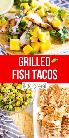 Grilled Fish Tacos are extremely juicy and flavorful with a quick mango salsa and any firm white fish like cod, halibut or mahi mahi. A 30 minute dinner the whole family will love! Healthy Mexican Recipes, Healthy Grilling Recipes, Clean Recipes, Real Food Recipes, Healthy Snacks, Halibut Fish Tacos, Grilled Fish Tacos, Grilled Halibut, 30 Minute Dinners