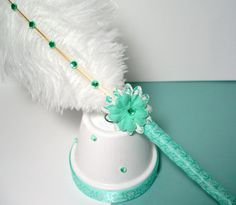 Ostrich Feather Pen & Stand - Aqua Green And White Damask Fancy Pens, The Ostrich, Flower Pens, White Damask, Wedding Book, Wedding Favors, Ostrich Feathers, Silk Ribbon, Mint Green