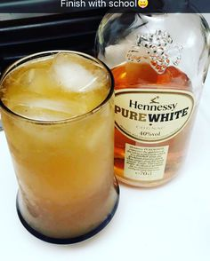 Something to relieve stress. Pure white Hennessy with pineapple juice