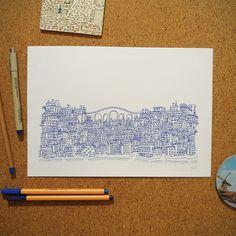 """Ilustração """"Viaduto"""" da coleção de ilustrações """"Cidades Azuis"""" por Gabriel Dyonisio."""