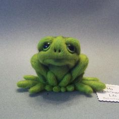 "A sad little frog I created. He may be sad, but he's here instead of being a clump of wool. I hope you tried again for a ""happy Frog"". Needle Felted Animals, Felt Animals, Wet Felting, Needle Felting, Frog Crafts, Frog And Toad, Cool Pets, Soft Sculpture, Felt Art"