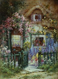 Alfred de Breanski A Wayside House painting for sale - Alfred de Breanski A Wayside House is handmade art reproduction; You can buy Alfred de Breanski A Wayside House painting on canvas or frame. Storybook Cottage, Cottage Art, Garden Cottage, Cottage House, Cottage Design, Paintings I Love, Beautiful Paintings, House Paintings, Belle Image Nature