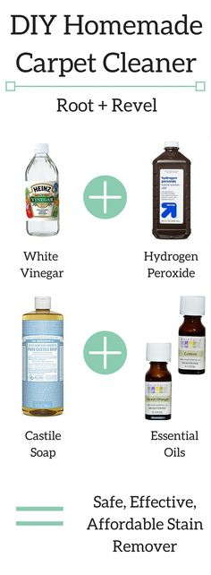 Toss toxic cleaners and dangerous chemicals! Remove stains with this safe, effective DIY homemade carpet cleaner. Quick + easy to make with pantry staples! | rootandrevel.com
