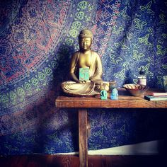 add a tapestry or pattern backdrop to add depth and color to your #altar