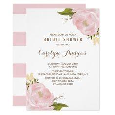 Watercolor Blush Pink Peonies Bridal Shower Card