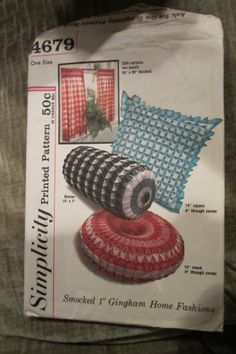Items similar to Simplicity 4679 printed pattern smocked gingham pillows - cafe curtains on Etsy Simplicity Sewing Patterns, Mccalls Patterns, Vintage Sewing Patterns, Smocking Patterns, Sewing Crafts, Sewing Projects, Sewing Ideas, Curtain Patterns, Cafe Curtains