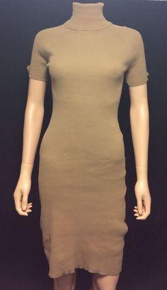 MODA International Camel Tan Ribbed Knit Turtleneck Dress Size Small #ModaInternational