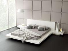 futonbett - holzbett - bett 180x200 cm - japan design - lederbett ... - Bett Mit Minimalistisch Grauem Design Bilder