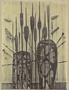 Asmat spears, shields, miscellaneous hunting paraphernalia