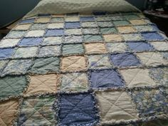 This is the very first rag quilt I ever made. That was about fifteen years ago. Have made several for other people since then. Maybe it is time to make myself a new one.