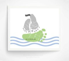 Baby Footprint Sailboat Nautical Nursery Art Print  - Blue Gray Nursery - Personalized Baby Boy Nursery - Boys Rooms Decor - Nautical Decor