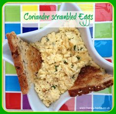 Coriander Scrambled Eggs area healthy snack for children. Adding the coriander adds extra nutrition and encourages children to acquire a taste for herbs.