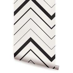 Chevron Bold Black Peel & Stick Fabric Wallpaper