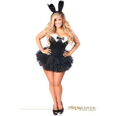 top drawer plus size formal tuxedo bunny costume ($146) ❤ liked on Polyvore featuring costumes, black, womens plus costumes, black tuxedo, plus size devil costume, devil halloween costumes and sequin devil costume