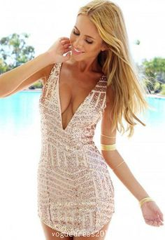 Sexy Deep V-neck Gold Sequins Sleeveless Slim Fit Dress  #promdress