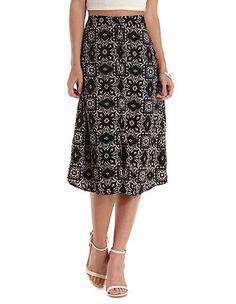 Tile Print Button-Up Full Midi Skirt: Charlotte Russe