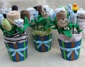Neutral Baby Shower Decorations: 6 Small BabyBlossoms Baby Bouquet Pots-Baby Shower Centerpieces for a Boy or Girl