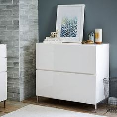 "Lacquer Storage Modular Lateral File - White - 32""w x 18.5""d x 30""h 