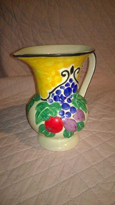 Vintage Ditmar Urbach Czech Hand Painted Peasant Art Pottery Decorative Pitcher , shape LOSTRO