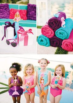 mermaid barbie pool party favors and ideas Pool Party Favors, Pool Party Themes, Pool Party Decorations, Party Ideas, Pool Parties, Barbie Birthday Party, Barbie Party, Birthday Party Themes, Girl Birthday