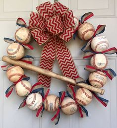 Baseball Wreath with Burlap Bow - Coach's Gifts - Front Door Wreaths - Check the Ballfield- Spring Wreaths - Softball - Baseball Team Gift Baseball Wreaths, Baseball Crafts, Sports Wreaths, Baseball Party, Baseball Mom, Baseball Season, Baseball Photos, Tigers Baseball, Baseball Field