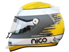 Nico Rosberg 2010 helmet.  There was a time when drivers would stick with a helmet design throughout their careers. Now they seem to chap and change every week!