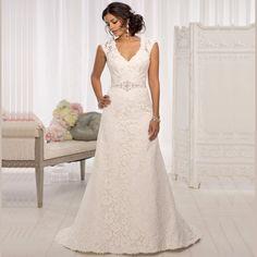 2017 Nuevo Diseño de vestidos de noiva Vestidos de Novia de Encaje Con Cuello En V Una Línea de Piso-longitud de Los Vestidos Nupciales Aduana Hacer