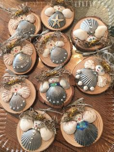 Seashell Angels Enjoy these little ladies made with all natural seashells on a natural wood round. Add a little joy to your tree with these lovely angels. Seashell Christmas Ornaments, Angel Ornaments, Christmas Angels, Christmas Decorations, Christmas Tree, Beach Decorations, Beach Ornaments, Snowman Ornaments, Crafts To Sell