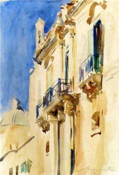 Façade of a Palazzo, Girgente, Sicily - John Singer Sargent