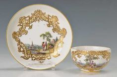 Lot: cup with saucer, Lot Number: 5037, Starting Bid: €600, Auctioneer: Henry's Auktionshaus AG, Auction: Glass, porcelain, antiques and collectibles, Date: December 28th, 2017 EET