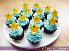 Starman Cupcakes - Nintendo Party | The Purple Pumpkin Blog