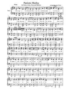 Free sheet music : Anonymous - Patriotic Medley - Air Force, Army, Navy and Marines (Piano solo)