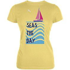 Summer Sun Seas Seize the Day Sailboat Juniors Soft T Shi...