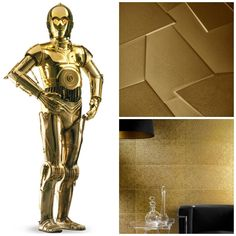 #Tile worthy of a #droid. Happy opening #StarWars #TheForceAwakens.  #walltile #goldtile #decor #metallictile #metaltile #tilestyle #tiledesign #gold #golddecor #design #interiordesign #architecture #homedecor #hospitalitydesign #ilovetiles by specceramicsinc