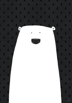 Art print black and white poster polar bear by agrapedesign on Etsy