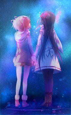 Madoka x Homura (Mahou Shoujo Madoka☆Magica) Yuri Manga, Manga Kawaii, Yuri Anime, Chica Anime Manga, Kawaii Anime Girl, Manga Girl, Anime Art Girl, Anime Girls, Anime Best Friends
