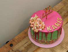30th vanilla cake with strawberry popcorn, wafers, mini marshmallows and white chocolate topping