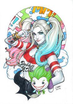 Joker Et Harley Quinn, Harley Quinn Tattoo, Harley Quinn Drawing, Eric Chen, Harley Quenn, Dessin Old School, Daddys Lil Monster, Marvel Dc, Dark Angel Tattoo