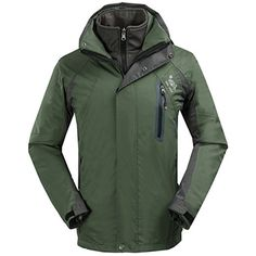 SHAMEI Men's 3in1 Waterproof Windproof Breathable Sports Outdoor Hooded Jacket Coat (Medium, Army Green)