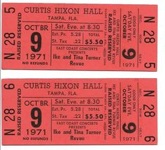 Ike & Tina Turner Concert Ticket Tina Turner Concert, Ike And Tina Turner, Piece Of Music, Concert Tickets, Hard Rock, Rock Bands, Orange, Amp, Hard Rock Music