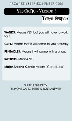 Yes Or No Tarot Spreads - Imgur
